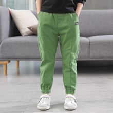 Boys pants spring and autumn new childrens cotton double fabric feet clothing
