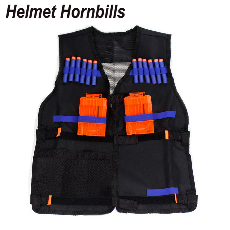 Helmet Hornbills Nerf Tactical Vest Jacket Waistcoat Magazine Ammo Holder for N-Strike Elite Pistol Bullets Toy Guns Clip Darts