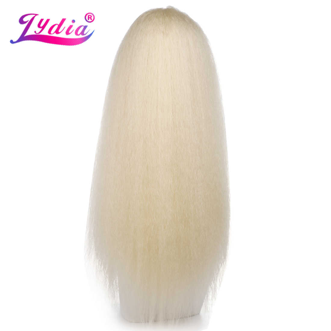 "Lydia Heat Resistant Synthetic 18""-24"" Kinky Straight Hair With Two Plastic Combs Drawstring Ponytail Extensions Natural Blonde"