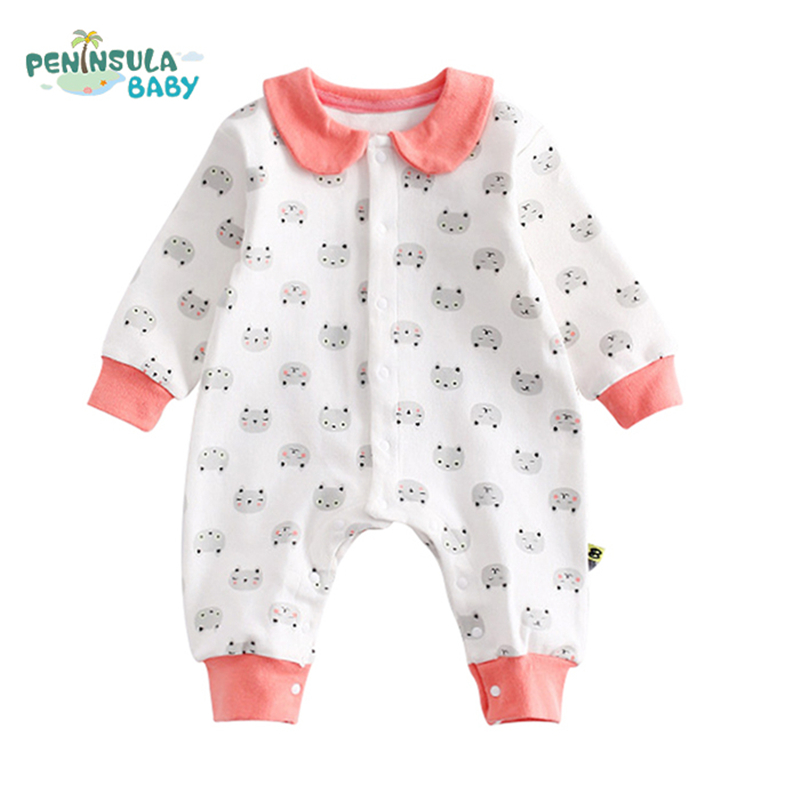 Newborn Baby Rompers Cartoon Cats Baby Clothes Animal Long Sleeve Lotus leaf Collar Lovely Style Infant Jumpsuit White Overalls детский комбинезон n a winter style newborn toddler s rompers lovely cartoon long sleeve warmful clothes for baby kids climbing clothing 1pc tz053