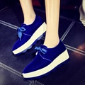 Pointy Toe Crossed Lace-up Retro Velvet Uppers Black Green Blue Red Thick Crust Creepers Slope Heels Women Wedges Shoes 2017 New
