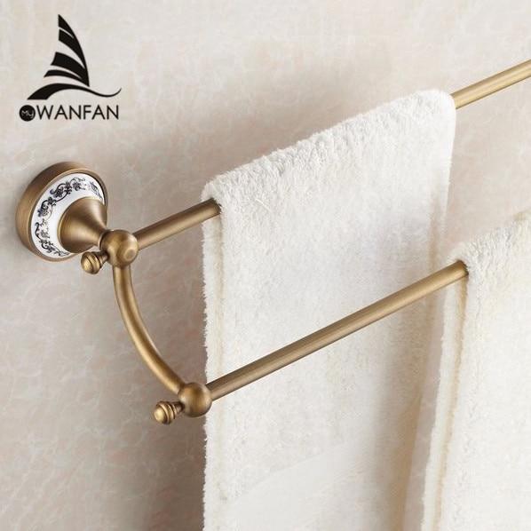 Towel Bars 24 60cm Double Towel Bar With Ceramic Antique Bronze Finish Towel Holder Towel Rack