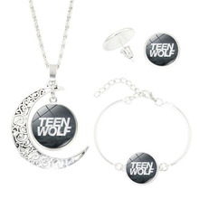 "Punk Style Jewelry Set Silver Plated Glass Cabochon Letter of ""Teen Wolf"" Shaped Necklace Earrring and Bracelet Set for Women"