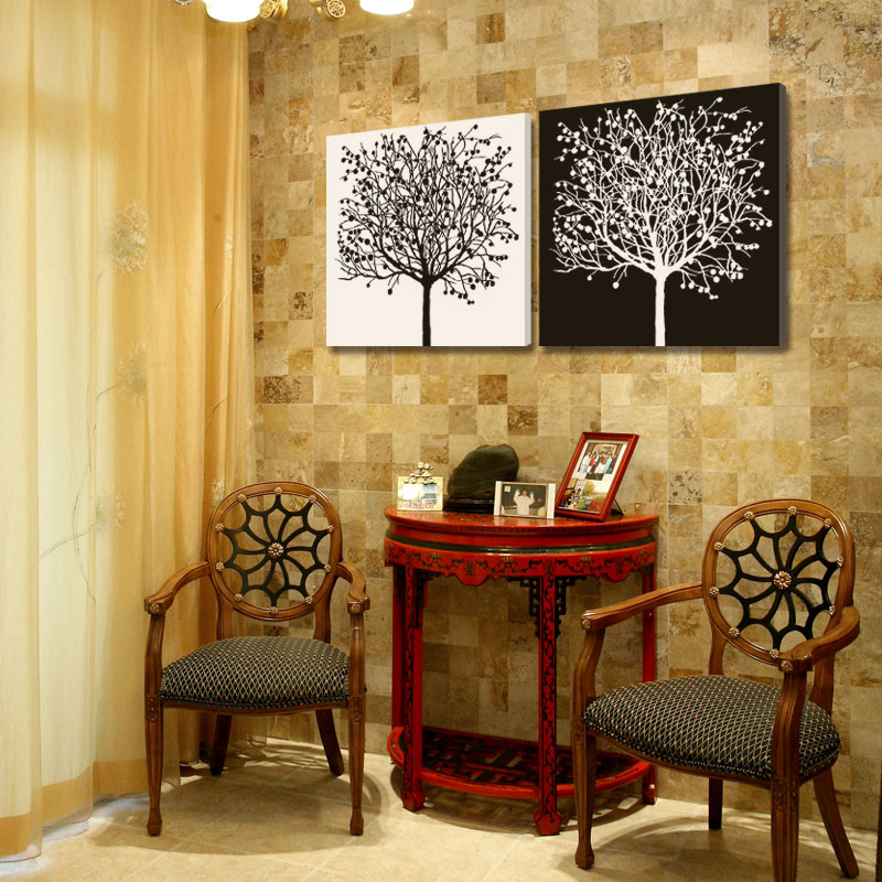 2 piece abstract canvas art simple life tree art white and black ...