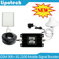 Monitores LCD! Dual Band GSM UMTS 900 Mhz WCDMA 3G 2100 Mhz Celular Mobile Phone Signal Booster 2G 3G Amplificador Repetidor de sinal
