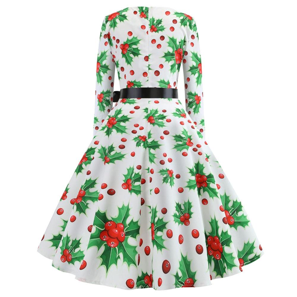 44bbec42b93 ... Plus Size Lace Panel Christmas Snow Vintage Ball Dress Round Neck Long  Sleeve Party Vestidos Dress ...