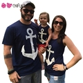 Navy Style Family Matching Outfits Summer Anchor Pattern Vest with Bow Mother Daughter Son T-shirts Family Look 2017 New
