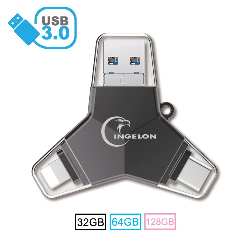 New 4 In 1 Flash Drive Pen Drive 64 Gb Usb 3.0 128gb Metal Pendrive Type C Memoria Usb DIY Name Logo DJ Otg 32gb For Iphone & PC