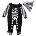 2pcs Baby Kids Boys Warm Infant Rompers+Hat Set,Babies Jumpsuit Printed Romper Cotton Clothes Outfit