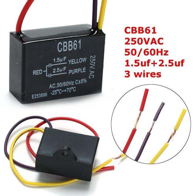 1 stück Schwarz Fan Kondensator CBB61 1,5 uF + 2,5 uF 3 Drähte ...