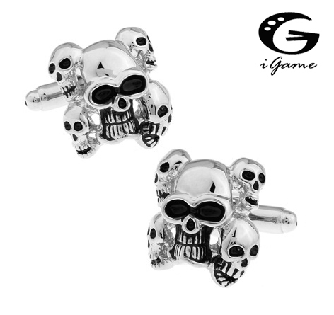 Igame Skull Cuff Links Vintage 5 Skeleton Heads Design