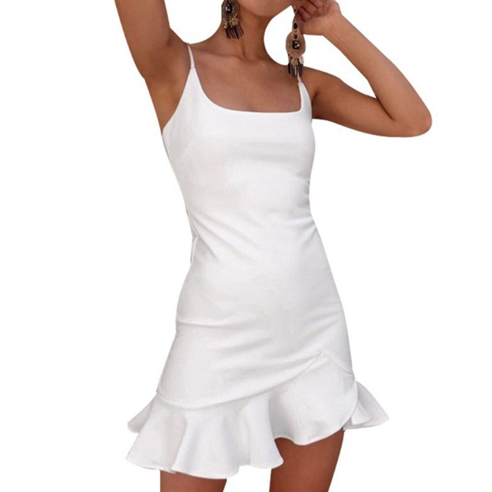 Elegant Women Sling Off Shoulder Mini Dress Sexy Emprie Ruffle Beach Sundress Party Solid Slim Fit Summer Harajuku Black White