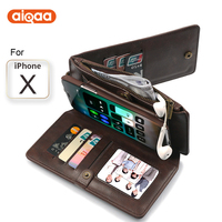 Multifunctional Wallet Case For iPhone 6,7,8,X With Card Holder Mobile Phone Leather Case Anti Slide Zipper Cell Phone Case