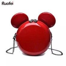 Bolso con forma de Mickey para mujer, bolsa de noche con cadena para Cartera de mano, bandolera para regalo de cumpleaños