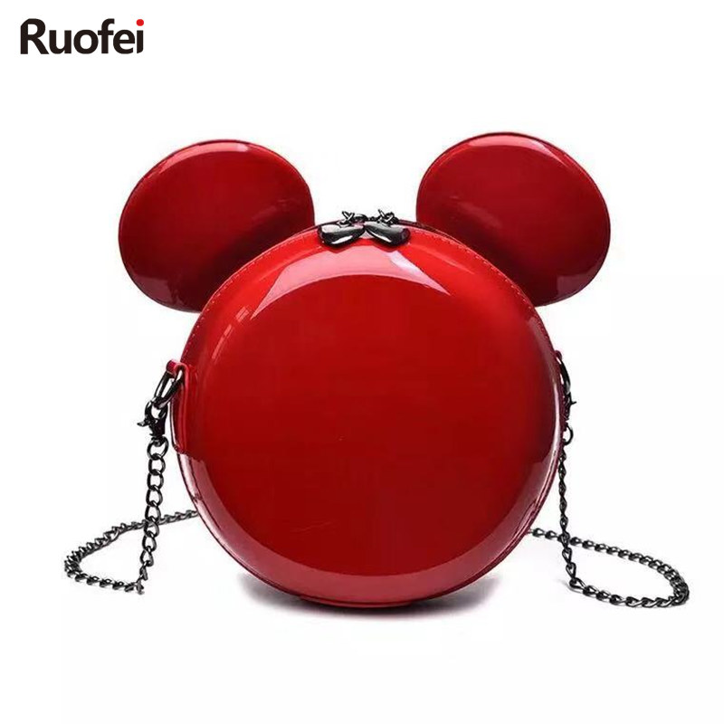 Hot New Fashion Design Women Mickey Shaped Bag Cute Funny Women Evening Bag Clutch Purse Chain Shoulder Bag For Birthday Gift