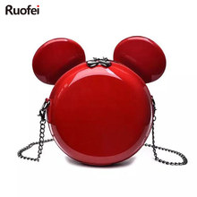 цена на Hot New Fashion Design Women Mickey Shaped Bag Cute Funny Women Evening Bag Clutch Purse Chain Shoulder Bag for Birthday Gift
