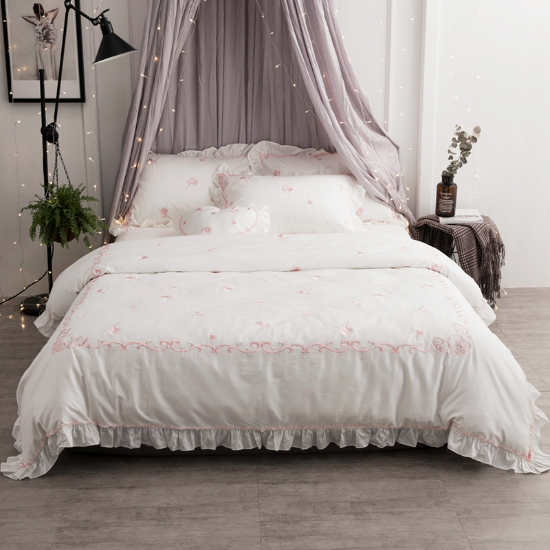 egyptian cotton white princess bedding set for girls king queen size bed sheet set duvet cover. Black Bedroom Furniture Sets. Home Design Ideas