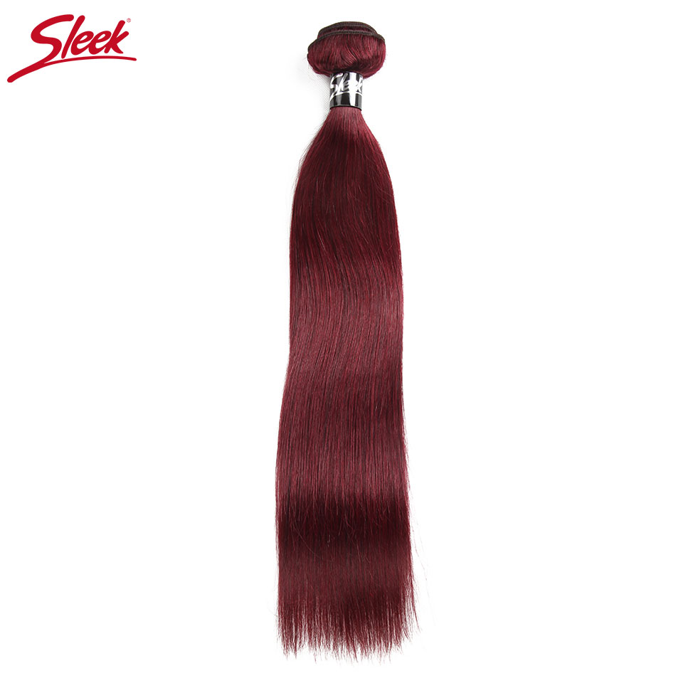 Sleek 99J Brazilian Hair Weave Bundles Straight Human Hair Extensions Red Burgundy Hair Bundles Remy Hair 1 Bundle Deal 30 Inch