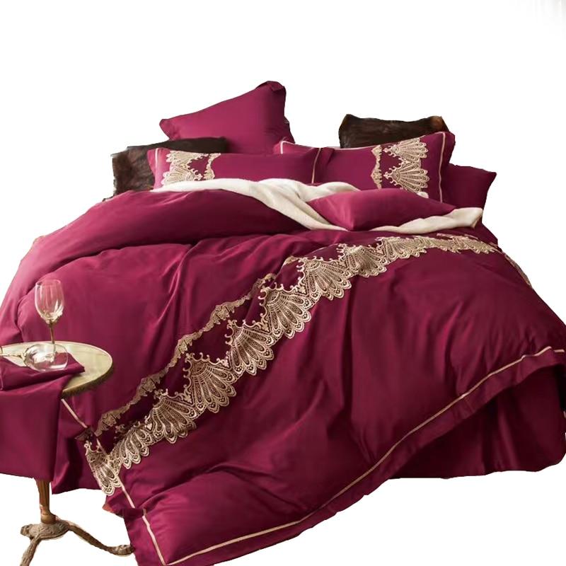 luxury bedding set winered duvet cover with elegant vintage lace bedlinen bed set egyptian cotton embroidered