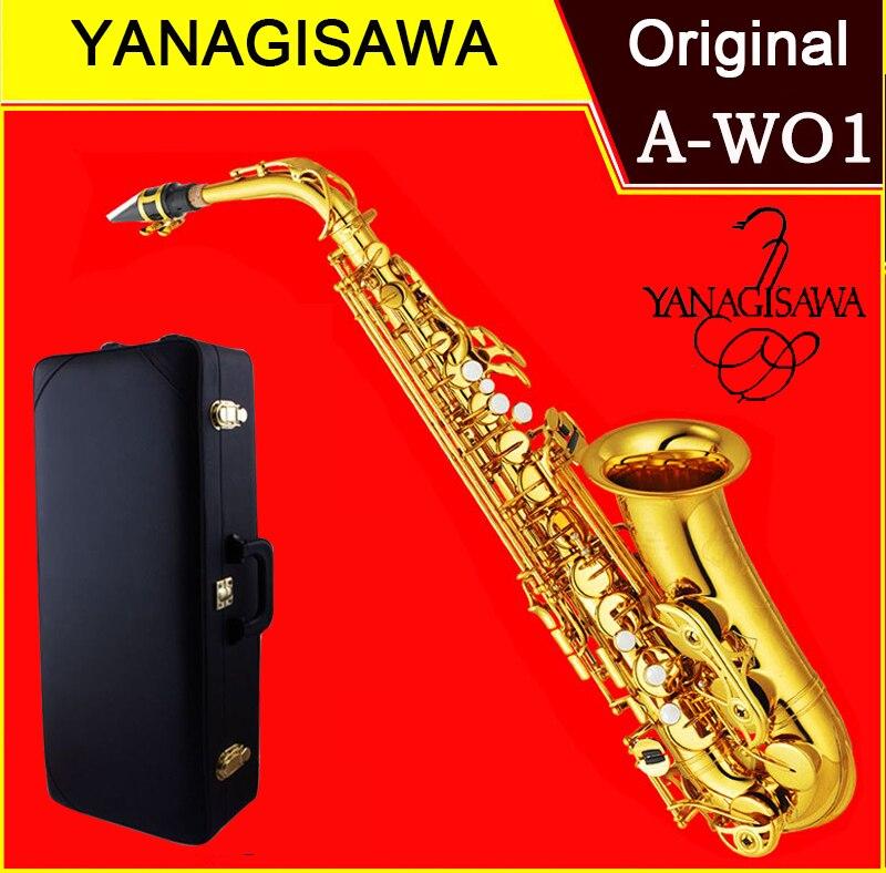 Saxofón japonés Alto Yanagisawa A-WO1 Eb Sax Alto A-901 laca oro latón instrumento musical boquilla Original envío gratis