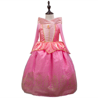2016 Sleeping Beauty Princess Costume Spring Autumn Pink Girl Dress Princess Aurora Dresses For Girls Party