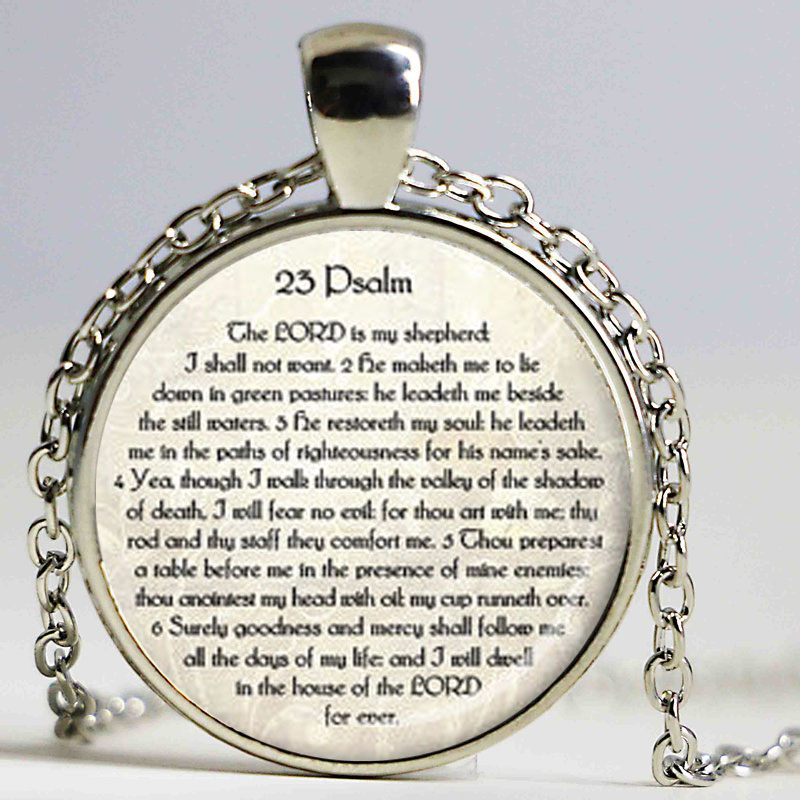 23rd PSALM JEWELRY Scripture Necklace Psalm 23 Necklace Bible Verse Jewelry Scripture Jewelry Jewish Gift Christian image