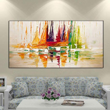 Thick Textured absract knife oil painting 100% Hand Painted abstract city Oil Painting Canvas Wall Art Picture For Living Room