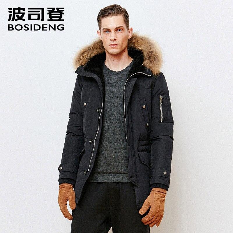 bosideng brand long thicken winter down jacket hooded men,White duck down coat male parkas plus size real raccoon fur B1501071