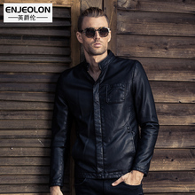 Enjeolon brand Motorcycle Leather PU Jackets Men Winter fashion Clothing button fly Stand collar Male black