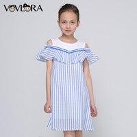 Girls Dress Striped Sleeveless Ruffles Kids Dresses O Neck Tops Tank Children Clothes Summer 2018 Size
