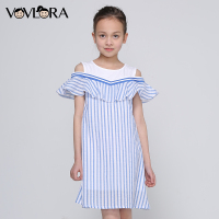 Girls Dress Striped Sleeveless Ruffles Kids Dresses O Neck Tops Tank Children Clothes Summer 2018 Size