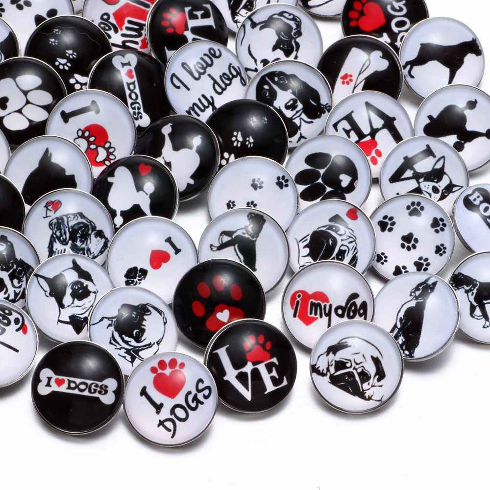 50pcs/Lot Mixed I Love Dog Pattern Glass Charms 18mm Snap Button Jewelry For 18mm Snaps Bracelet Snap Jewelry KZHM044