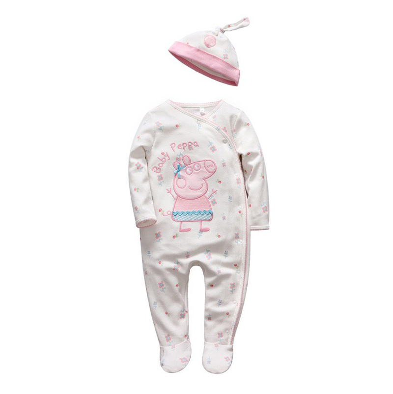 Tender Babies girl Boys rompers Soft long sleeve Cartoon Animal infantil newborn baby clothes white cotton infant jumpsuit + Hat 24
