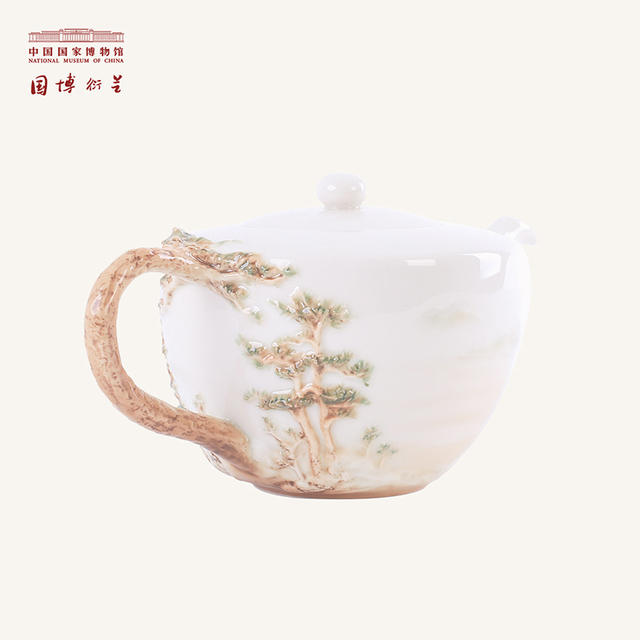NATIONAL MUSEUM OF CHINA Chinese Anciet Tea Pot Hills in the Rain Design Sculptures Porelain Ceramic Teapot Artwork Luxury Gifts