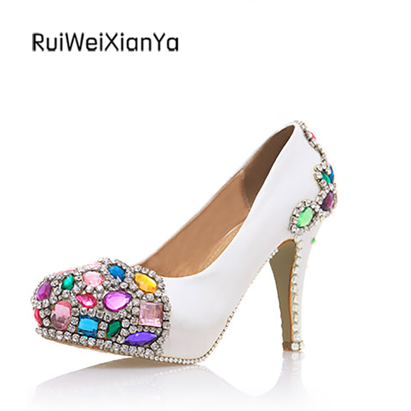 2017 New Arrive Spring Round Toe Single Women Pumps High Heels Sweet Crystal White Wedding Shoes for Bridal Plus Size Hot Sale 2017 new fashion spring ladies pointed toe shoes woman flats crystal diamond silver wedding shoes for bridal plus size hot sale