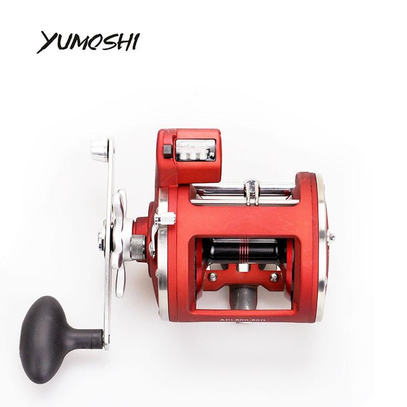 Yumoshi L/R ручной литой барабан колеса с электрическим глубина счетчик 12 шарикоподшипниках carretilha Baitcasting катушка Molinete de PESCA