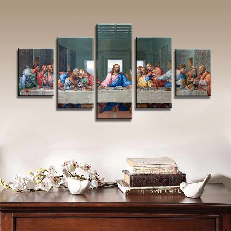 5 piece Set the last supper of jesus christ canvas painting Canvas picture painting room decor print poster wall art WD-1881