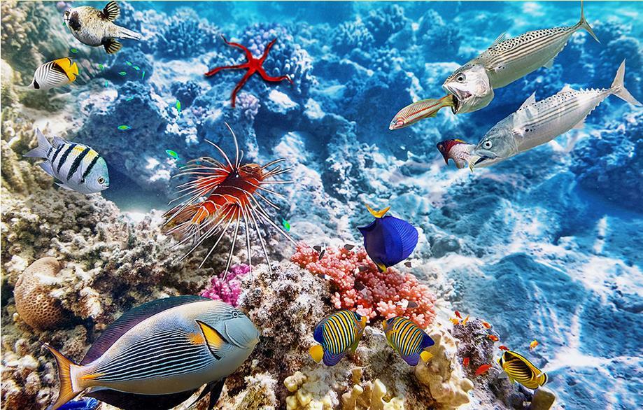 Us 228 62 Offfoto Dinding Mural Vinyl Lantai Laut Dunia Ikan 3d Mural Wallpaper 3d Lantai Stereoscopic Wallpaper Tahan Air Lantai In Wallpaper