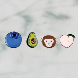 Happy Summer Holiday Avocado Monkey Peach Blueberry Fruit Metal Lapel Pins Hard Enamel Pin Cute Badge Fashion jewelry