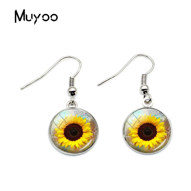 New Vintage Sunflowers Fish Hook Earrings Yellow Sunflower Jewelry Yellow Flower Glass Dome Earrings for Girls Women Gifts