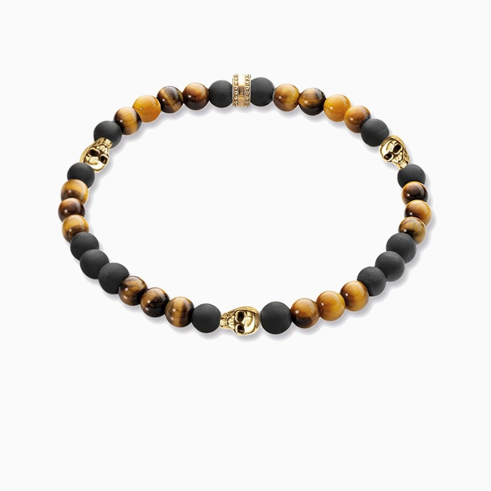 Natural-Stone-18K-Gold-Plated-Skull-Ts-Elastic-Bracelet-Tiger-Eye-Obsidian-Beads-Bracelet-For-Men