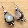Amazing BLUE FIRE RAINBOW MOONSTONE GIRLS' NOUVEAU Earrings !  Silver Overlay 2.6 cm
