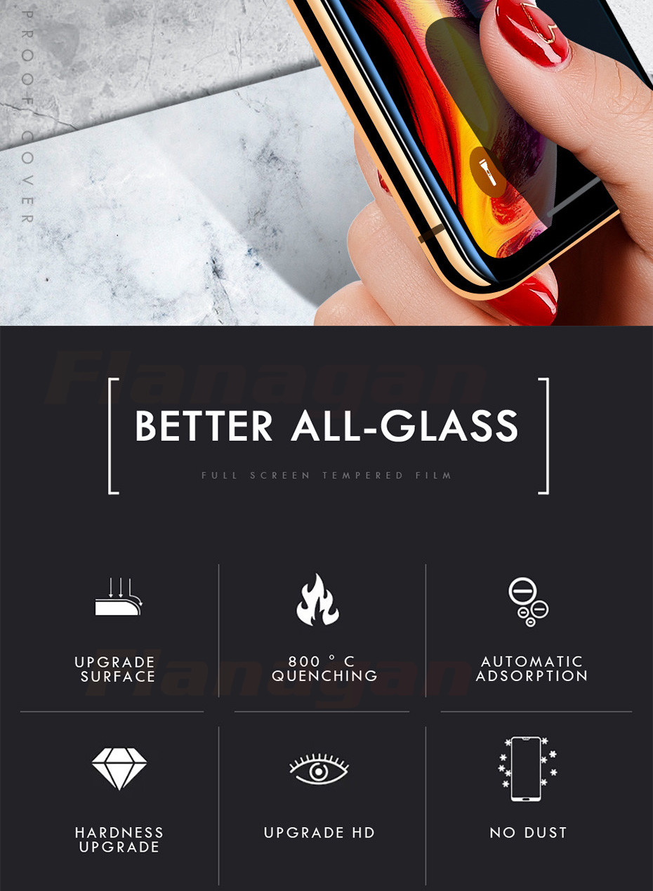 15D Protective Glass on the For iPhone 6 6s 7 8 plus XR X XS glass full cover iPhone Xs Max Screen Protector Tempered Glass 2