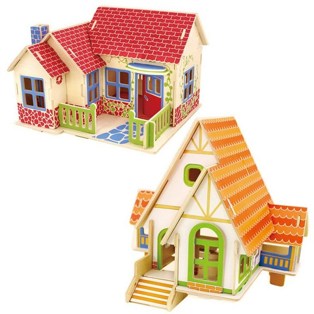 Aliexpress Com Buy Kids Diy Wood 3d House Puzzle Model Building Kits Wooden Toys House Model Jigsaw Decoration Educational Toys From Reliable Toy
