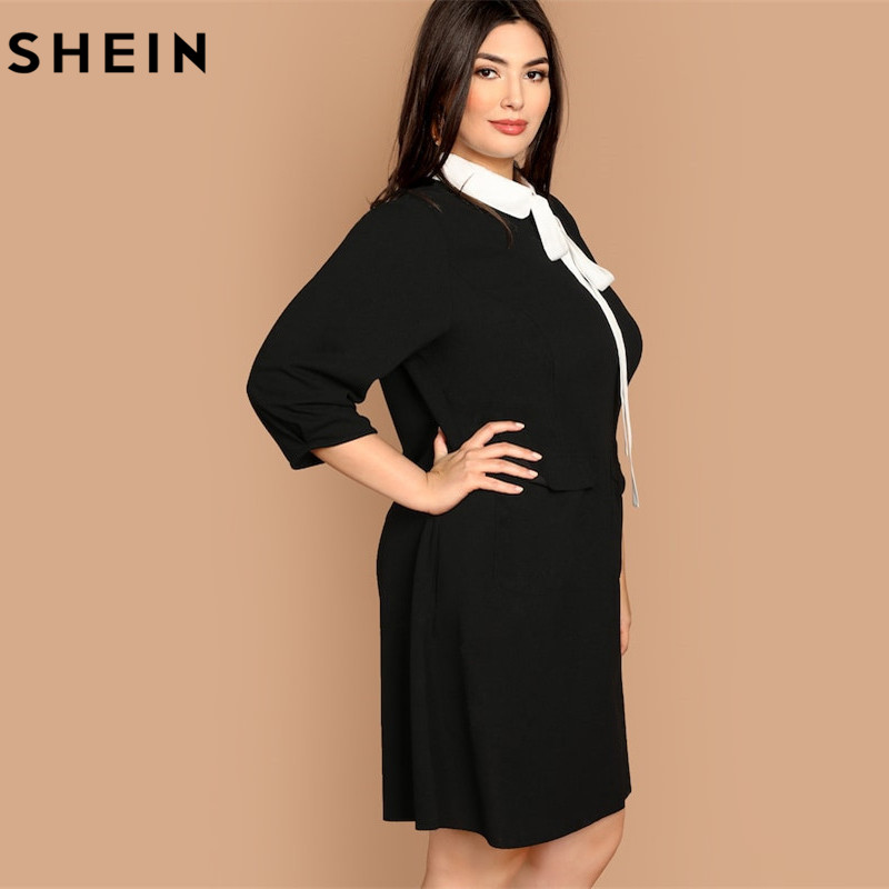 SHEIN Plus Size Tie Neck Peter Pan Collar Preppy Style Dress