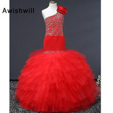 Real Sample One Shoulder Princess Flower Girl Dress With Beads Girls Mermaid Pageant Party Dress First Communion Dresses недорого