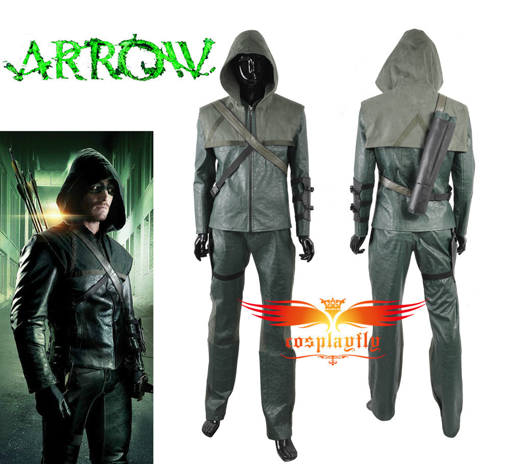 Green Arrow Season 3 The Green Arrow Oliver Queen Battleframe Cosplay Costume Adult Men Outfit Clothing Christmas