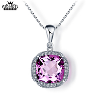 DELIEY Genuine 925 Sterling Silver Brilliant Natural Amethyst Pendants Necklaces For Women Valentine S Day Gifts