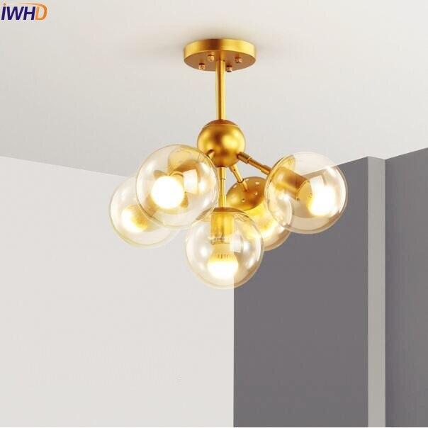 Nordic Vintage LED Pendant Lights Fixtures Dinning Living Room 5 Heads Magic Glass Ball Pendant Light Lamparas Colgantes