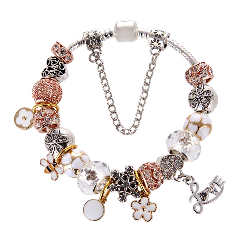 Silver plated White Crystal Beads LOVE&Flower pendant Charm DIY Fashion Elegant Pandora Bracelet For Women/Gril gift jewelry
